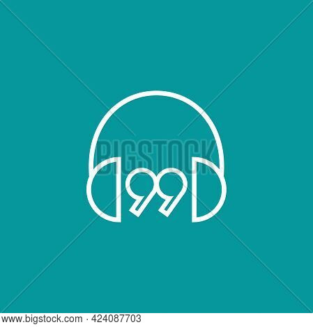 Line Headphones And Quotation Marks Icon. Flat Vector Earphones, Headset Icon Isolated On Blue. List