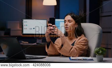 Overworked Executive Manager Holding Phone Texting Marketing Ideas Analysing Social Media Strategy S