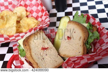 Club Sandwich On Gluten Free Bread In Retro Diner