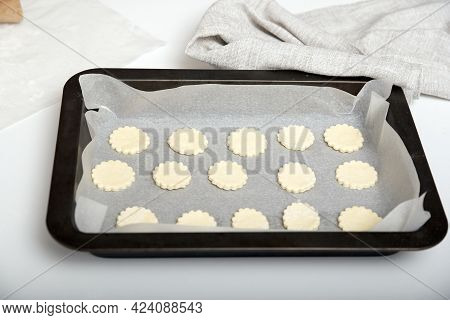 Cut Biscuits Are Placed On Baking Sheet For Baking. Prepare For Bake. Homemade Baking.