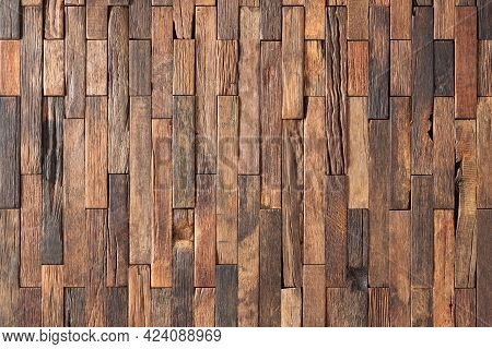 Mosaic Wood Texture Wall Panel As Background. Old Wood Background. Dark Wood Texture