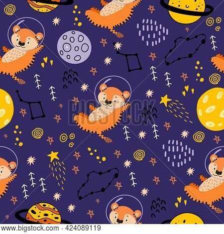2022 -year Of The Tiger. Seamless Pattern With Planets, Tigers, Constellations, The Moon, And Stars