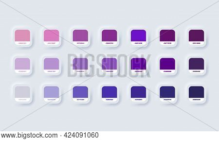 Pastel Colour Palette. Vector. Catalog Samples Purple In Rgb Hex. Color Catalog. Neumorphic Ui Ux Wh