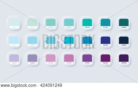 Pastel Colour Palette. Vector. Catalog Samples Blue And Purple In Rgb Hex. Color Catalog. Neumorphic