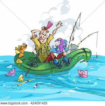 Fisherman And Fish. A Fisherman Caught A Piranha On White Background