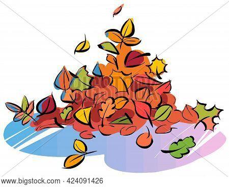 Cartoon Fallen Leaves. Pile Of Fallen Autumn Leaves