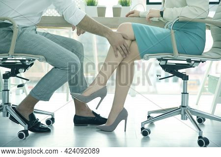 Man Flirting With His Colleague During Work In Office, Closeup. Cheating Concept