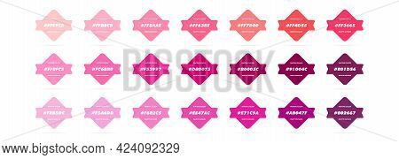 Pink Pastel Colour Palette. Vector. Catalog Samples Pink In Rgb Hex. Color Catalog. Vector Eps 10.