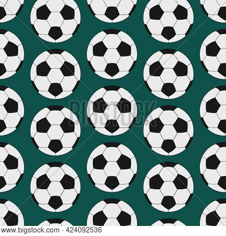 Soccer Ball. Seamless Vector Pattern. Isolated Green Background. Cartoon Style. Repeating Sports Orn