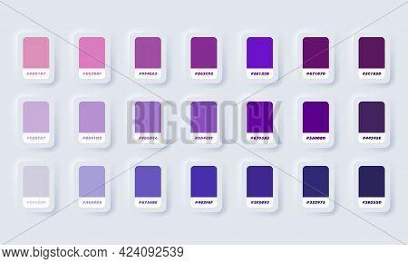 Purple Pastel Colour Palette. Vector. Catalog Samples Purple In Rgb Hex. Color Catalog. Neumorphic U