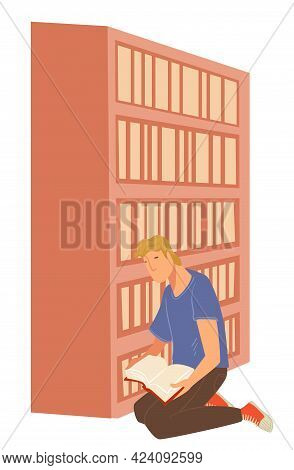 Man Reading Book In Library, Student In Bookshop