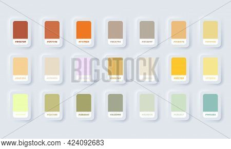 Yellow And Green Pastel Colour Palette. Vector. Catalog Samples Yellow And Green In Rgb Hex. Color C