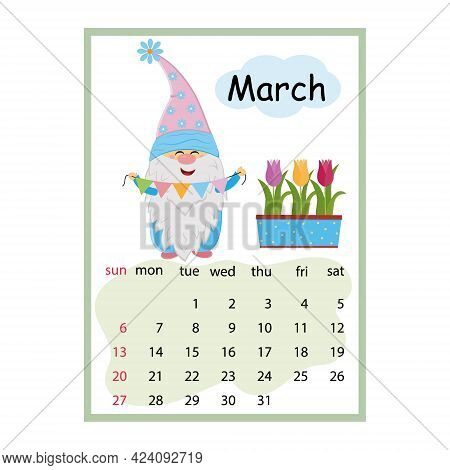 Designer Calendar For The Year 2022 March, Cute Dwarf Character On The Background Of Tulips Holding