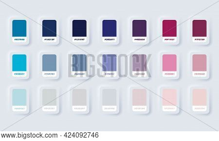 Purple And Blue Pastel Colour Palette. Vector. Catalog Samples Purple And Blue In Rgb Hex. Color Cat