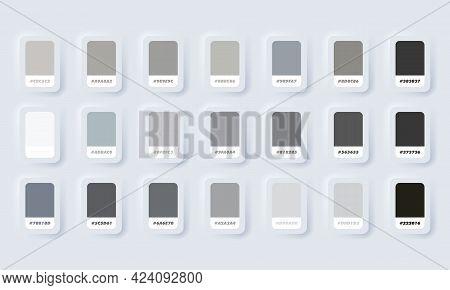 Grey Pastel Colour Palette. Vector. Catalog Samples Grey In Rgb Hex. Color Catalog. Neumorphic Ui Ux