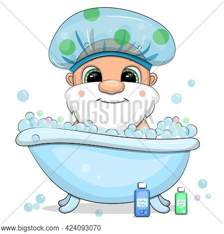 A Cute Cartoon Gnome With Is Taking A Bath. Vector Illustration On A White Background With Bubbles.