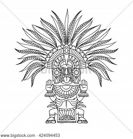 Indian Decorative Totem, Aztec God In Feathered Crown, Shaman In Mask, Vector Illustration With Blac