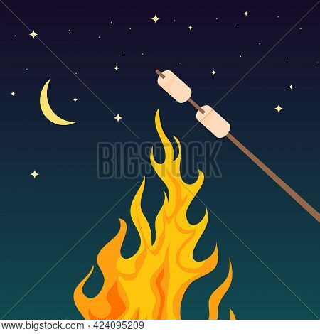 Marshmallows On Fire, Branch With Marshmallows On Fire Against The Background Of The Night Sky. Vect