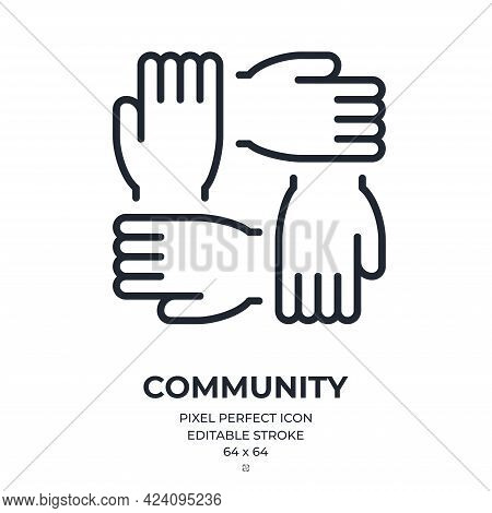 Community And Teamwork Concept. Circular Handshake Editable Stroke Outline Icon Isolated On White Ba