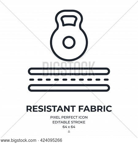 Resistant Fabric Concept Editable Stroke Outline Icon Isolated On White Background Flat Vector Illus