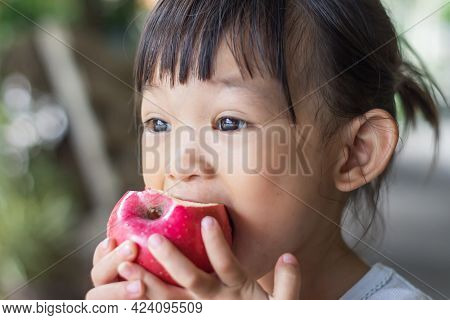 Portrait Image Of 2-3 Yeas Old Of Baby. Happy Asian Child Girl Eating And Biting An Red Appl