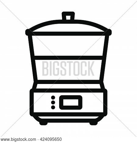 Kitchen Steam Cooker Icon. Bold Outline Design With Editable Stroke Width. Vector Illustration.