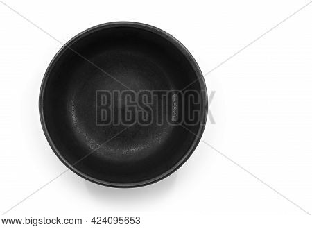 Beautiful Black Bowl On White Background, Top View Image, Matt Color, Round Shape, Inside Empty.