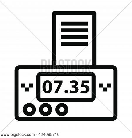 Taxi Meter With Receipt Icon. Bold Outline Design With Editable Stroke Width. Vector Illustration.