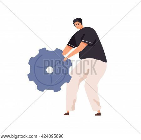 Person With Big Cogwheel In Hands As Symbol Of Technical Works. Man Holding Metal Gear. Concept Of C
