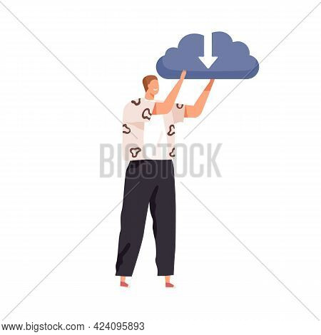 Happy Person Holding Big Cloud With Arrow As Symbol Of Online Storage Service. Data Download And Upl