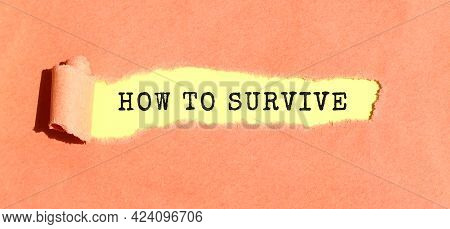 The Text How To Survive Appearing On Yellow Paper Behind Torn Color Paper.