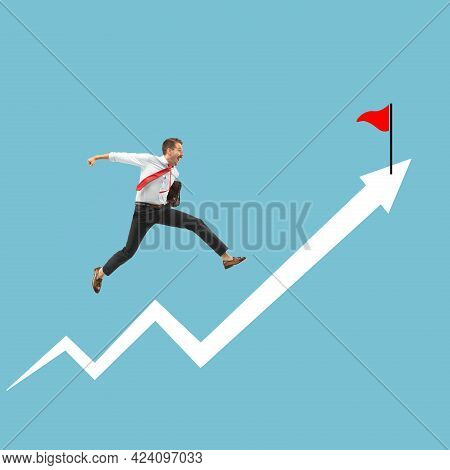 Successful Businessman Running Up The Arrow, Path To Success And Goal.