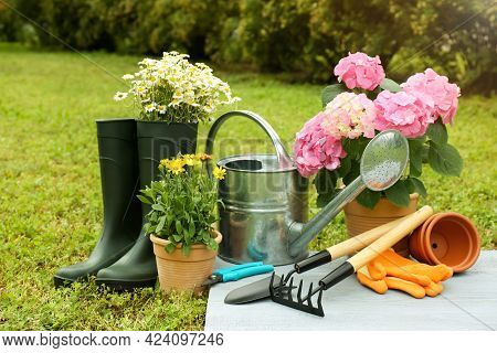 Beautiful Blooming Plants, Gardening Tools And Accessories On Green Grass Outdoors