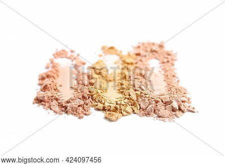 Swatches Of Different Crushed Face Powders On White Background