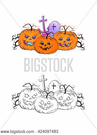 Halloween Illustration With Smiling Pumpkins And Grave On A White Background. Two Variant: Color And
