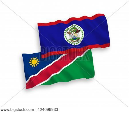 National Fabric Wave Flags Of Belize And Republic Of Namibia Isolated On White Background. 1 To 2 Pr