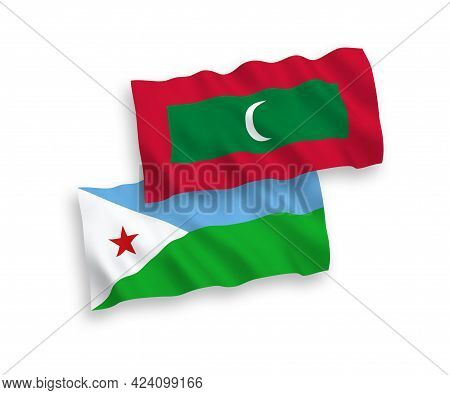 National Fabric Wave Flags Of Republic Of Djibouti And Maldives Isolated On White Background. 1 To 2