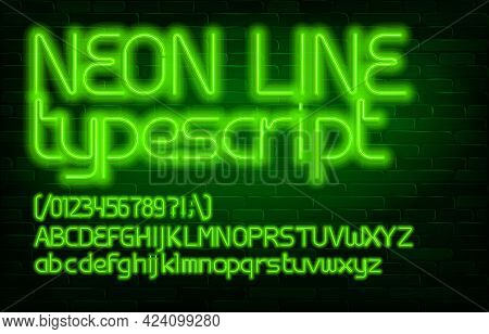 Neon Line Alphabet Font. Green Light Letters, Numbers And Punctuation. Uppercase And Lowercase. Stoc