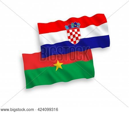National Fabric Wave Flags Of Burkina Faso And Croatia Isolated On White Background. 1 To 2 Proporti