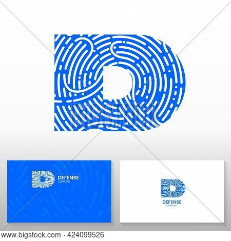 Letter D Made With Fingerprint. Defense Company Logo Template - Abstract Vector Emblem. Business Car