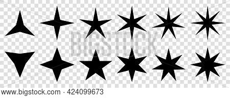 Star Icons Vector. Stars Symbols With Different Pointed : Three, Four, Five, Six, Seven, Eight. Vect