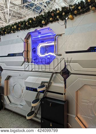 Moscow, Russia - December 15, 2020: Capsule Hotel Has Been Installed At Vnukovo International Airpor