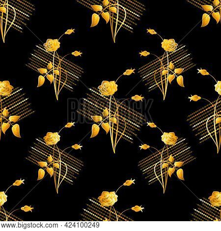 Gold, Shining Roses, Bouquet. Vector Vintage Background. Seamless Pattern With Image Of A Gold Rose