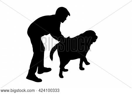 Black Silhouette Of A Boy And A Labrador Dog On A White Background. Eight-year-old Boy Stroking His