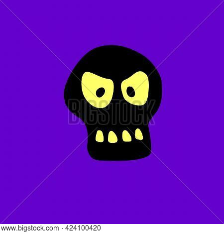 Skull With Glowing Eyes In Cartoon Doodle Flat Style. Vector Black Silhouette, Icon, Clipart Isolate