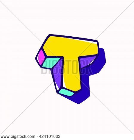 Letter T Logo In Cubic Children Style Based On Impossible Isometric Shapes. Perfect For Kids Labels,