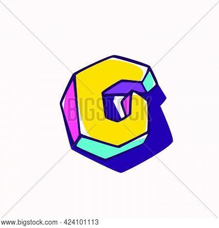 Letter G Logo In Cubic Children Style Based On Impossible Isometric Shapes. Perfect For Kids Labels,