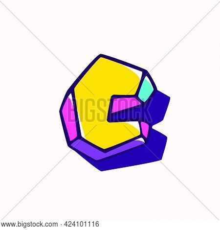 Letter C Logo In Cubic Children Style Based On Impossible Isometric Shapes. Perfect For Kids Labels,