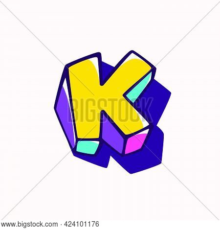Letter K Logo In Cubic Children Style Based On Impossible Isometric Shapes. Perfect For Kids Labels,