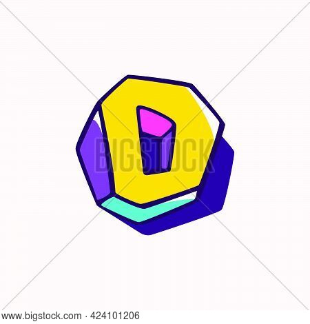 Letter D Logo In Cubic Children Style Based On Impossible Isometric Shapes. Perfect For Kids Labels,